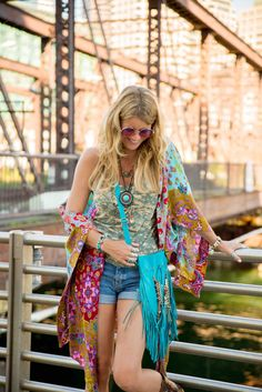 Love that bright Kimono!  Boho Style