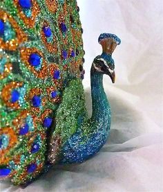 Peacock Hand Painted Ornament by KARCREATIONS on Etsy