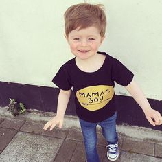 Mamas boy tee gold glitter logo on the black cotton tee. Comes in sizes 6m-3years. Can be made in larger sizes just needs to be custom made so