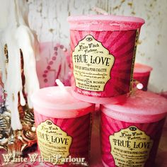 TRUE LOVE Elixir Votive CANDLE. Scent of Fresh Pink Roses Charged with Rose Quartz and Pink Calcite Crystals for self love, coven, compassion spell    www.whitewitchparlour.com