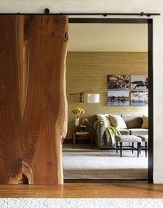Love this rustic slab wood barn-type door! ~ ♥