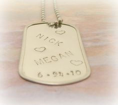 Hand Stamped Jewelry Personalized Military Dog tag for couples. $15.00, via Etsy.