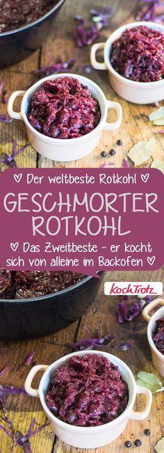 Geschmorter Rotkohl mit Wildpreiselbeeren. Der kocht sich von alleine! Mein bestes Rotkohl-Rezept. #rotkohl