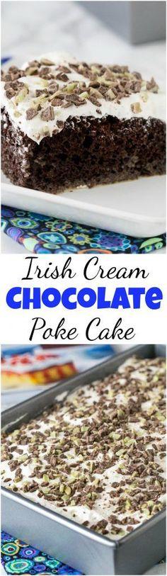 Irish Cream Chocolate Poke Cake