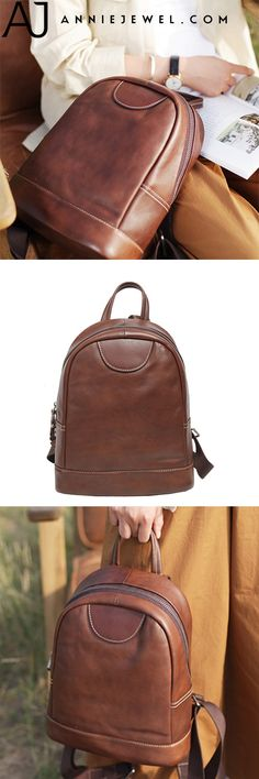 1012a78ba Handmade Coffee Leather Backpack Bag Travel Purse