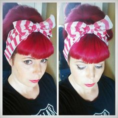 Hot Bright Pink and White Stripes Vintage Style Hair Scarf Headwrap Hair Bow 1940s 1950s Rockabilly - Pin Up - For Women, Teens