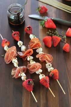 Strawberry Mozzarella Salami Skewers with Balsamic Glaze Strawberry, Mozzarella & Salami Skewers