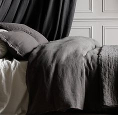 Garment-Dyed Textured Linen Bedding Collection in ivory