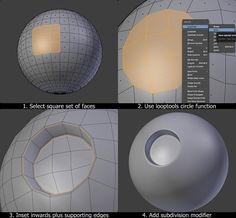 """Blender tip. Modeling holes on a curved surface like the sphere Blender 3d, Blender Models, Maya Modeling, Modeling Tips, 3d Tutorial, Digital Art Tutorial, 3d Modellierung, 3ds Max Tutorials, Unity Tutorials"