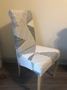White with Grey& Geometric Pattern (New) Dining Chair Covers, Dining Chairs, Grey Velvet Chair, Pattern, Furniture, Black, Home Decor, Dining Chair, Black People