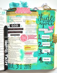 hybrid mixed media art journaling Bible entry by Leah Schumacher   Hiding in Him