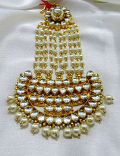 Other Asian E Indian Jewelry 11313: Mughal Ethnic Beaded Pearl Fine Kundan Maang Tikka Fashion Designer Broad Passa -> BUY IT NOW ONLY: $68 on eBay!