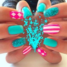 glitter polish nail art - Google Search