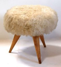 View this item and discover similar for sale at - A fantastic Jean Royere pouf upholstered in sheepskin. Modern Ottoman, Modern Stools, Bench Furniture, Antique Furniture, Floor Pillows And Poufs, Brown Leather Chairs, Take A Seat, Home Accessories, Dining Chairs
