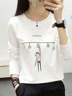 Round Neck Print Long Sleeve T-Shirts - Look Fashion Cheap Womens Tops, Trendy Outfits, Fashion Outfits, Shirt Shop, T Shirt, Trendy Tops, Look Fashion, Fashion Styles, Shirt Style