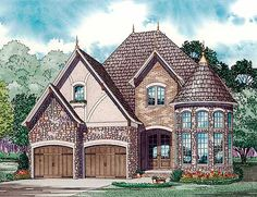 English Country Style House Plans - 2889 Square Foot Home , 2 Story, 4 Bedroom and 2 Bath, 2 Garage Stalls by Monster House Plans - Plan Don't love the prominence of the garages, but I like the overall look Tudor House, Victorian House Plans, European House Plans, Country Style House Plans, Dream House Plans, House Floor Plans, Victorian Homes, French House Plans, Castle House Plans