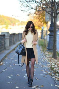 HELLO NOVEMBER: turtle neck, skirt and camel coat:VOGUE HAUS waysify