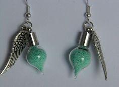 Pastel Green Fairy Dust Vial Earrings £5.00