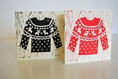 Handmade Linoprint Christmas Cards, 2012 Self-initiated Scandi Christmas, Diy Christmas Cards, Christmas Design, Xmas Cards, Christmas Art, Christmas Projects, Christmas Ideas, Handmade Stamps, Christmas Jumpers