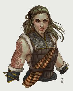 f Barbarian Med Armor portrait Traveler by Rachel Denton Winter Warlock lg Female Character Design, Character Creation, Character Design Inspiration, Character Concept, Character Art, Dungeons And Dragons Characters, Dnd Characters, Fantasy Characters, Female Characters