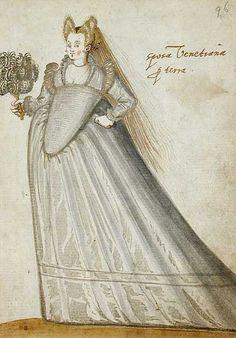"Venetian Bride,in the ""Alba Amicorum of a German Soldier"" (1595). Unknown artist, Los Angeles County Museum of Art."