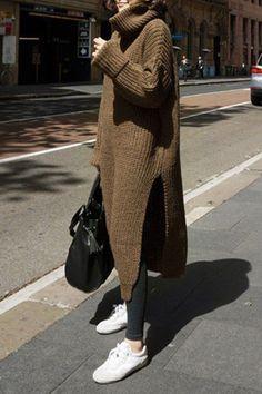 2017 Casual Turtleneck Solid Color High Slit Pullover Sweater Dress For Women 2017 casual rollkragen Sweater Dress Outfit, Winter Skirt Outfit, Sweater Dresses, Long Sweater Dress, Knit Dress, Winter Outfits, Turtleneck Dress, Night Outfits, Long Sweaters