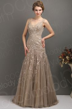 Modest Trumpet Mermaid V Neck Tulle Brown Mother Of The Bride Dress COLT1300F