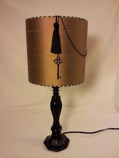 Black and Brown Lamp, Coffee Brown Silk Dupioni Barrel Shade, Decorator Cord Trim, Black Key, Black Tassel, One of a Kind, Small Drum Shade