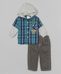 Look what I found on #zulily! Blue Plaid Hooded Button-Up & Gray Pants - Infant & Toddler #zulilyfinds