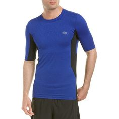 Lacoste Lacoste Sport Performance Compression T-Shirt ($63) ❤ liked on Polyvore featuring men's fashion, men's clothing, men's shirts, men's t-shirts, blue multi, mens blue leopard print shirt, lacoste men's shirts, mens compression tee shirts, mens polyester shirts and mens patterned t shirts