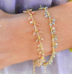 delicate bead and wire bracelets