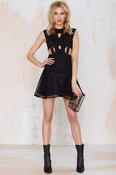 Nasty Gal Rock City Scuba Dress - Going Out   LBD   Fit-n-Flare   Dresses