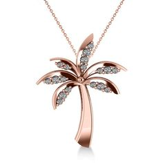 Allurez Diamond Summer Palm Tree Pendant Necklace 14k Rose Gold... ($835) ❤ liked on Polyvore featuring jewelry, necklaces, palm tree pendant necklace, 14k rose gold pendant, diamond necklace pendant, rose gold diamond necklace and 14k rose gold necklace