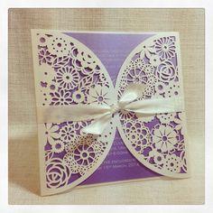 Floral Paper Lace lavender wedding Invitation - Laser Cut invitation SAMPLE on Etsy, $9.50