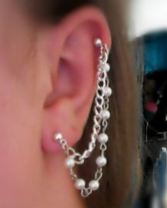 Elegant Pearl Bead And Chain Cartilage To Lobe Earring