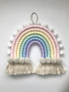 Yeny Conner added a photo of their purchase Rainbow Bedroom, Rainbow Wall, Rainbow Crochet, Rainbow Crafts, Macrame Patterns, Macrame Wall Hanging Patterns, Idee Diy, Rainbow Birthday, Crochet Patterns For Beginners