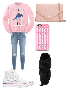 """Comedy Christmas"" by rhyancaughman ❤ liked on Polyvore featuring Frame Denim, Converse, Tory Burch and Casetify"