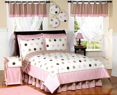 Pink & Brown Polka Dot Comforter Bedding Set #kidsroomstore