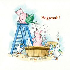 GREETING CARD Funny Pigs Hogwash. Blank card by ChurchMousePress