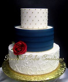 https://flic.kr/p/CZ39sk | Elegant Ivory Butter Cream Wedding Cake with Navy Blue Pleats and Gold Sugar Pearls and Bling Accents