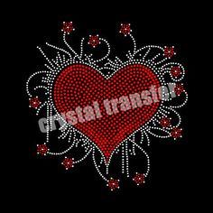 Rhinestone Heat Transfers A Beautiful Heart Crystal Stone For Dresses