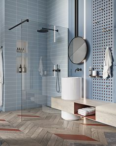 Dream bathrooms, blue bathrooms, amazing bathrooms, modern bathroom tile, b Modern Bathroom Tile, Bathroom Floor Tiles, Wood Bathroom, Bathroom Interior Design, Modern Interior Design, Shower Tiles, Bathroom Ideas, Blue Bathrooms, Bathroom Designs