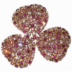 Vintage Huge Pink Rhinestone Clover Brooch. Prong set Costume Jewelry Pin from The Attic Vintage Clothing