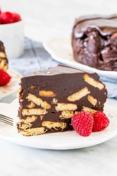 This rich, chocolate biscuit cake is a favorite of the Royal family. It's no-bake and made with digestive biscuits and dark chocolate - making it an easy recipe that's fit for a queen. #chocolate #biscuitcake #princewilliam #refrigeratorcake #cake #nobake #nobakecake #recipe from Just So Tasty Edible Cookies, Edible Cookie Dough, Cake Mix Cookies, Raisin Cookies, Oatmeal Cookies, Chocolate Chip Cookies, Chocolate Cupcakes, Banana Brownies, Cheese Brownies