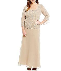 Jkara Plus Beaded Mock Chiffon Gown #Dillards