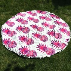 Cool Summer Pineapple Pattern Small Pompon Tassel Yoga Mat Gypsy Cotton Tablecloth Round Beach Throw