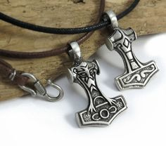Thor's Hammer Necklace - Reversible Mjolnir pendant - Viking and Norse Jewelry - Pagan Jewelry w/ Black, Brown or Tan Cord - Celtic Necklac