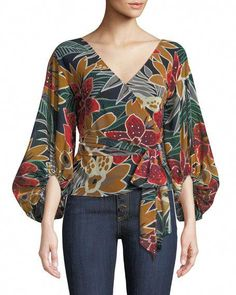Riston Floral-Print Wrap Blouse by Club Monaco at Neiman Marcus Club Monaco, Blouse Styles, Blouse Designs, Dress Designs, Mode Outfits, Casual Outfits, Mode Batik, Hijab Fashion, Fashion Dresses