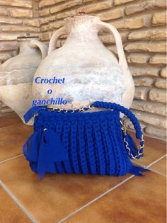 Crochet o ganchillo: BOLSO AZUL FETTUCCIA