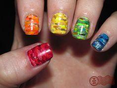 Rainbow Camo Nail Art